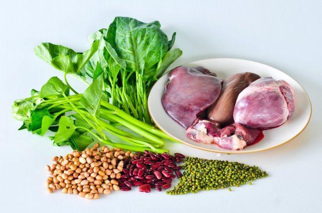 Alimentos para combater a deficiência de ferro.